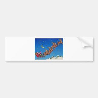 Santa y su trineo etiqueta de parachoque