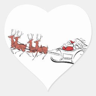 Santa y su trineo colcomanias corazon