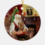 Santa y su Yorkie 7 Ornamento Para Reyes Magos
