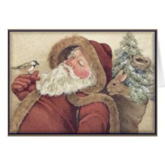 Santa y sus amigos del bosque - navidad tarjeta de felicitación