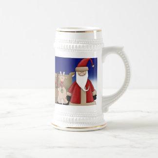 Santa y sus ciervos jarra de cerveza