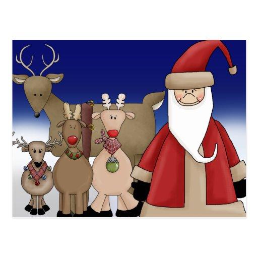Santa y sus ciervos postal