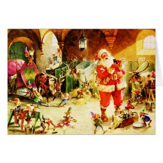 Santa y sus duendes en los establos de Polo Norte Felicitación
