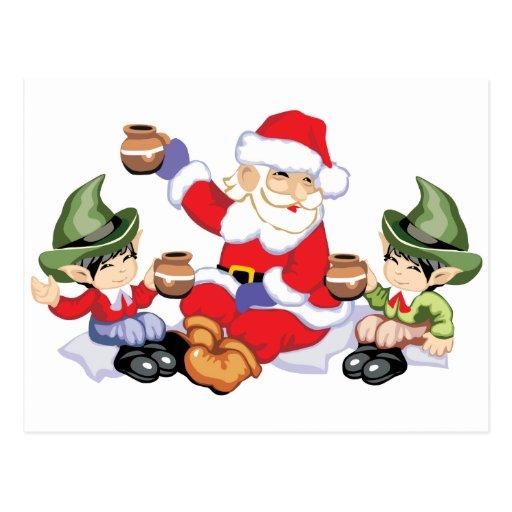 Santa y sus duendes postales