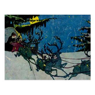 Santa y sus ilustraciones del vintage del reno postales