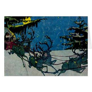 Santa y sus ilustraciones del vintage del reno tarjeta de felicitación