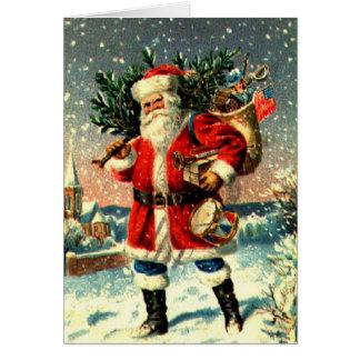 Santa y sus mercancías tarjeta de felicitación