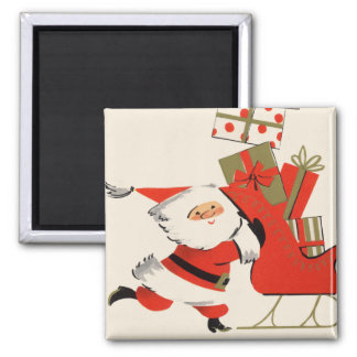 Santa y sus regalos imán para frigorifico