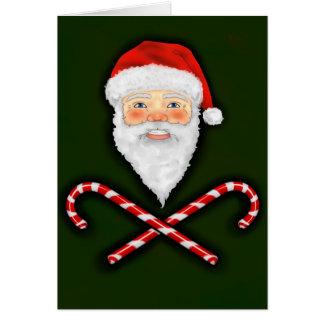 Santa y tarjeta de felicitación cruzada de los bas