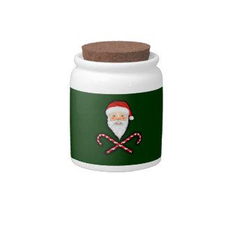 Santa y tarro cruzado del caramelo de los bastones jarra para caramelo