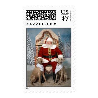 Santa y Weimaraners Sello Postal