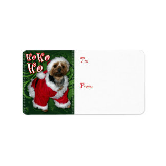 Santa Yorkie Gift Tag Personalized Address Labels