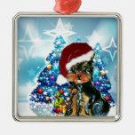 Santa Yorkie Poo Christmas Ornament