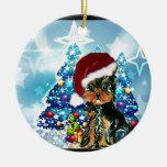 Santa Yorkie Poo Christmas Tree Ornament