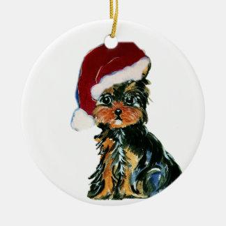 Santa Yorkie Poo Double-Sided Ceramic Round Christmas Ornament