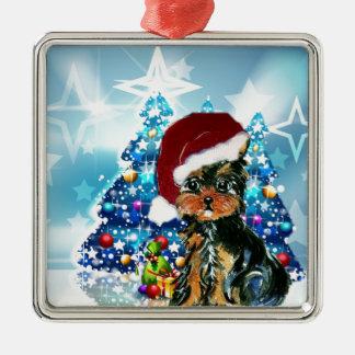 Santa Yorkie Poo Square Metal Christmas Ornament