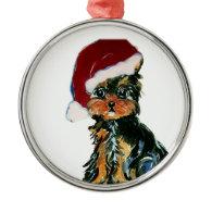 Santa Yorkie Poo Ornaments