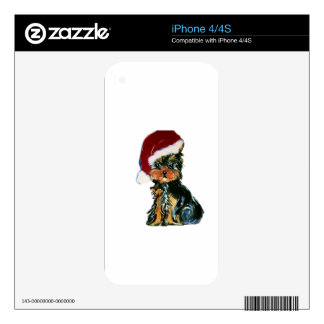 Santa Yorkie Poo Decal For The iPhone 4