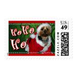 Santa Yorkie Postage Stamp