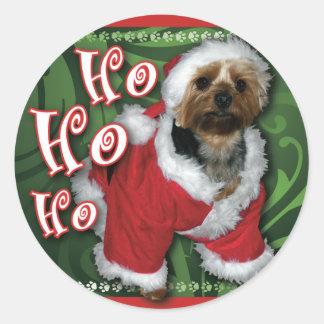 Santa Yorkie Round Sticker