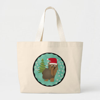 Santa Yorkshire Terrier Large Tote Bag