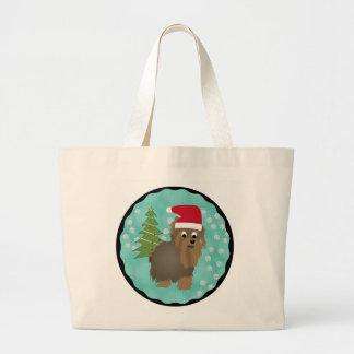 Santa Yorkshire Terrier Large Tote Bag