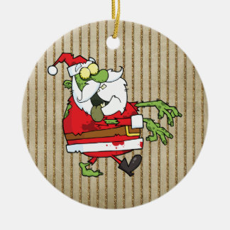 Santa Zombie Ceramic Ornament