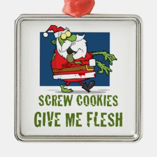 Santa Zombie Cookies Square Metal Christmas Ornament