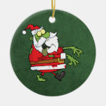 Santa Zombie Double-Sided Ceramic Round Christmas Ornament