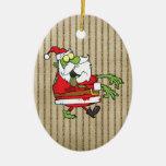 Santa Zombie Double-Sided Oval Ceramic Christmas Ornament