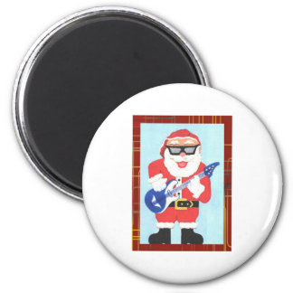 SantaClausWithRedFrame2 2 Inch Round Magnet