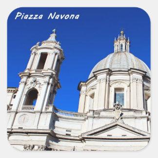 Santagnese in Agone Church in Piazza Navona, Rome Square Sticker