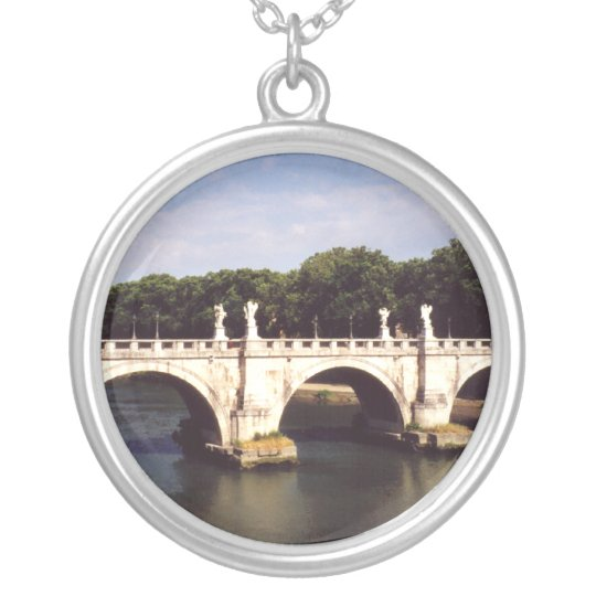 Sant'Angelo Bridge in Rome, Italy Silver Plated Necklace