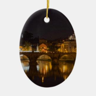 Sant'Angelo Bridge over the Tiber River Christmas Tree Ornaments