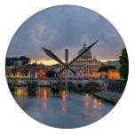 Sant'Angelo bridge Saint Peter Basilica Rome Italy Clock
