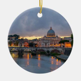 Sant'Angelo bridge Saint Peter Basilica Rome Italy Double-Sided Ceramic Round Christmas Ornament