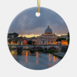 Sant'Angelo bridge Saint Peter Basilica Rome Italy Double-Sided Ceramic Round Christmas Ornament