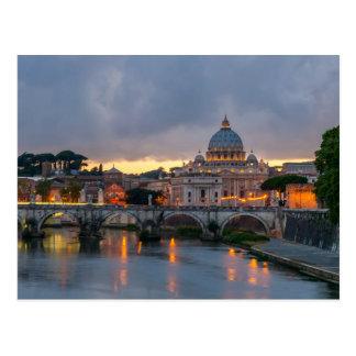 Sant'Angelo bridge Saint Peter Basilica Rome Italy Postcard