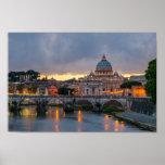 Sant'Angelo bridge Saint Peter Basilica Rome Italy Posters