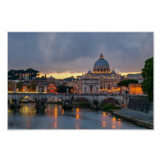 Sant'Angelo bridge Saint Peter Basilica Rome Italy Poster