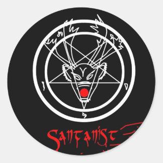 Santanist Pentagram Christmas Design Classic Round Sticker
