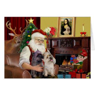 Santa's 2 Cairn Terriers Greeting Card