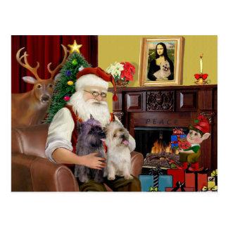Santa's 2 Cairn Terriers Postcard
