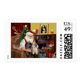 Santa's 2 Cairn Terriers Stamp