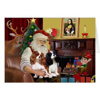 Santa's 2 Cavalier Kings Charles Greeting Card