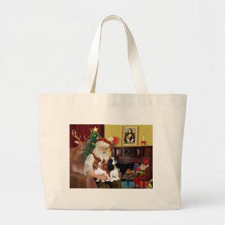 Santa's 2 Cavalier Kings Charles Jumbo Tote Bag