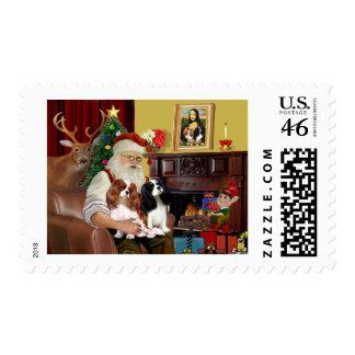 Santa's 2 Cavalier Kings Charles Stamp