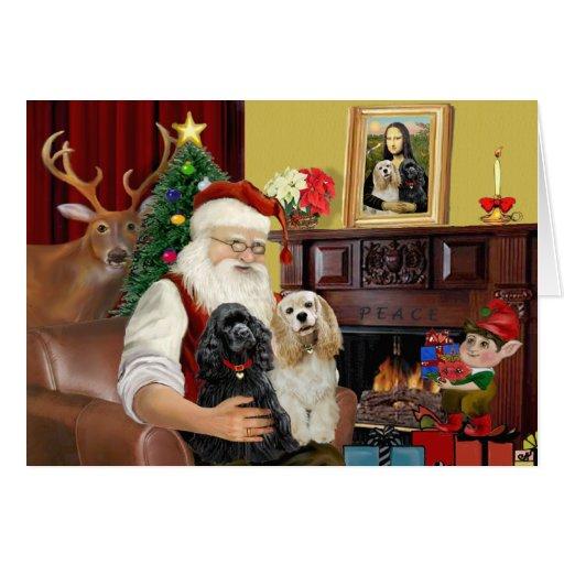 Santa's 2 Cocker Spaniels Card