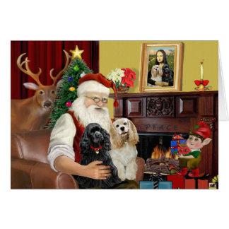 Santa's 2 Cocker Spaniels Greeting Card