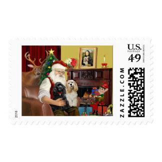 Santa's 2 Cocker Spaniels Postage Stamps